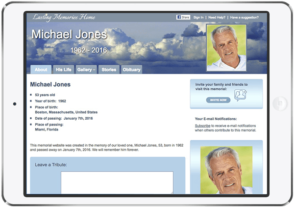Lasting Memories landing page